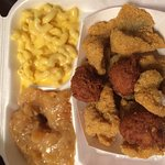 Friday night catfish plate with Mac n cheese and apple casserole. BBQ wings with Mac n cheese an