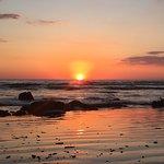 Sunset on the beach very close