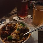 Bison chili, venison egg rolls and chicken quesadilla. Cold and tasty beer. Amazing service. Wha