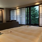 The view from the bed—note the way the shoji screens afford privacy, while still letting in ligh