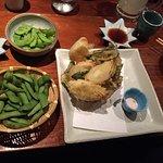 Edamame and tempura leek