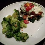 Special--Chicken Lasagna (with tomatoes) and broccoli.