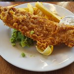 Beer Battered Fish & Chips. (We squeezed the lemon !)