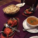 Tandoori vegetarian and chicken dish, garlic naan