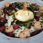 Shrimp and Rice Grits with egg
