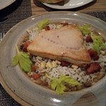 Swordfish on rice, beans, apple and pork confit