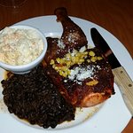 Delicious chicken with black beans and rice and coleslaw