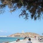 View of Portara from Naxos town sea promenade