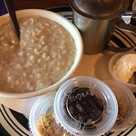 oatmeal with nuts, raisins and brown sugar