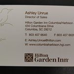 Ashley's contact info for business travelers