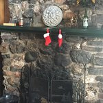 Beautiful fieldstone fireplace in one of our lakefront cabins!