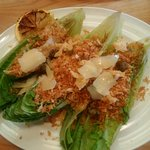 white anchovy caesar salad with panko and parmesan