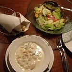 Soup, salad and bread rolls at Olive Gardens, Kennesaw, GA