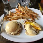 The Plain Ol' Jane Benedict with Basque Fries. (Ham subbed for gruyere cheese)