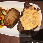 Rib Eye with Oscar's Lobster Topper and twice Baked Potato