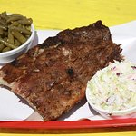 Half rack of ribs with our fresh crisp coleslaw and garlic-butter green beans.