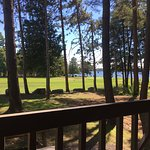 The view of the golf course and lake from one of our rooms
