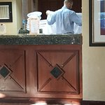 Font Desk Folding Towels in view of Patrons..