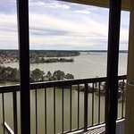 balcony and view from sitting room of suite overlooking Lake Conroe