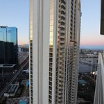 Got out my big camera to take a photo from our balcony on tower 2 looking at tower 1. 26th floor
