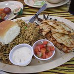 Mixed Grill Platter with Mambo rice and grilled vegetables