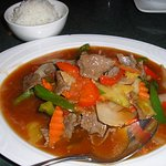 beef sweet-and-sour with rice