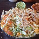 My gloopy taco salad. The interior of the restaurant and their homemade average salsa.