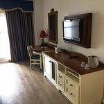 King room 2nd floor - work table, dresser, fridge, TV
