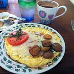 omelette at Around the World Cafe