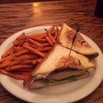 Chicken sandwich and sweet potato fries.