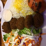 Delicious Persian style falafel- not all chick peas, rather veggies. Friend had lamb kabob which
