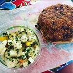 Vegan burger & palm salad!