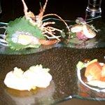 Spot Prawn sashimi, hotade (scallop sashimi), sockeye salmon sushi