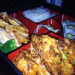 Terikyaki chicken bento box with shrimp kakiage, California roll and rice