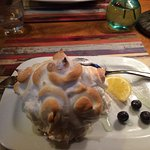 Fig and goats cheese salad starter. Asian fusion main and lemon meringue baked alaska for puddin