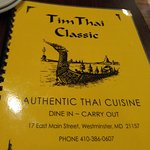 Tim Thai Restaurant's menu is extensive.