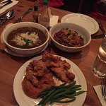 Gumbo, Jambalaya, Buttermilk Fried Chicken with sweet potatoes, and green beans