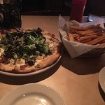 Pear & Gorgonzola pizza & brewery fries. Naughty but nice