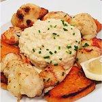 risotto, saint-Jacques, chou-fleur et patate douce
