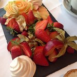 Tasty alternative to cakes at Afternoon Tea for guest who has dairy intolerance. Rose cut from m