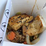 Tofu bowl with spicy Korean sauce