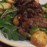 Sticky steak & chip salad - gorgeous