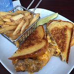 Brisket Mac & Cheese Grilled Cheese Sandwich with ranch fries