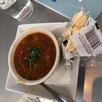 Crab covered pretzel and red crab soup