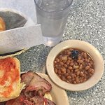 Beef brisket baked beans and sweet potato tots