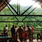 Sunrise view from the restaurant across to the Panti Forest Reserve