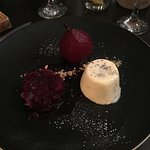 Pannacotta with poached pear and red wine gratin