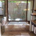 Large skylit bathroom, double sinks