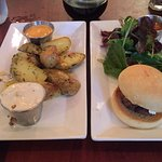Fingerling potatoes, a slider and a glass of Malbec