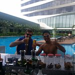 Fun time by the pool with my guide and driver, and a great friend.